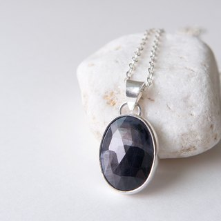 Grey black corundum sterling silver braid Grey black sapphire pendant