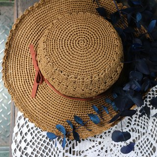 Handmade - music in travel - hand woven visor - big hat 檐 / hand woven - / birthday gift / couple hat