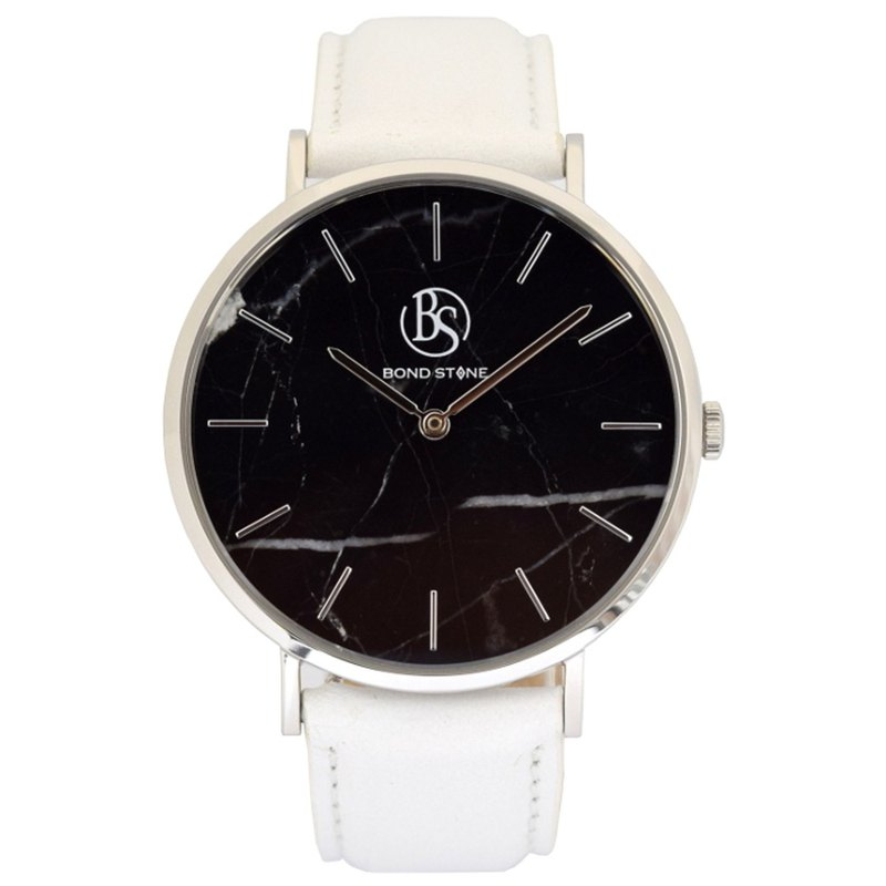 BOND STONE SHINE BLACK MARQUINA White leather belt 40mm Stone Watch