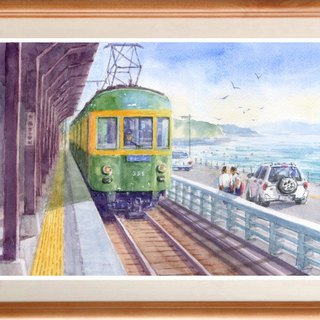 Watercolor painting original picture Kamakura High School Front Station Home 8