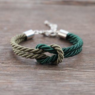 Military & Dark green knot rope bracelet