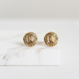 Vintage Early Button Handmade Earrings - Badge