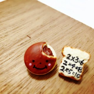 Smiling Dorayaki earrings set with super memory Toast (2 a) (which can change the ear clip type) ((over 600 were sent mysterious little gift))