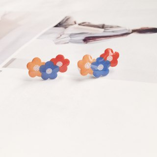 La Don - Youth Flower Yellow Orange Blue Ear Pin