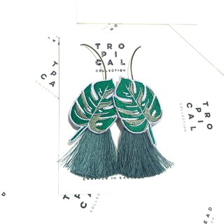 Leaf with  Dark Green Tassel Earrings