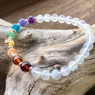 6mm Natural Stone Rainbow Bracelet (Blue Moonstone Body + Silver Beads Version)