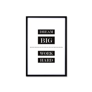 HomePlus Decorative Frame Dream Big Work Hard Classic Black 63x43cm Wall Decor
