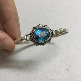 Swiss Blue Topaz Bangle Handmade in Nepal 92.5% Silver