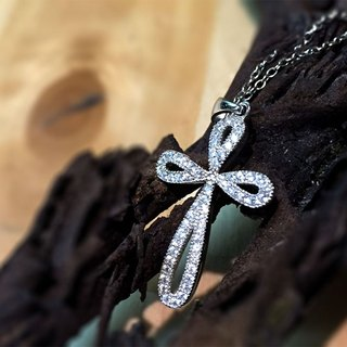 Cross Clavicle Necklace 925 Silver Bling Sparkling Clear Classic Zircon Four-Lea