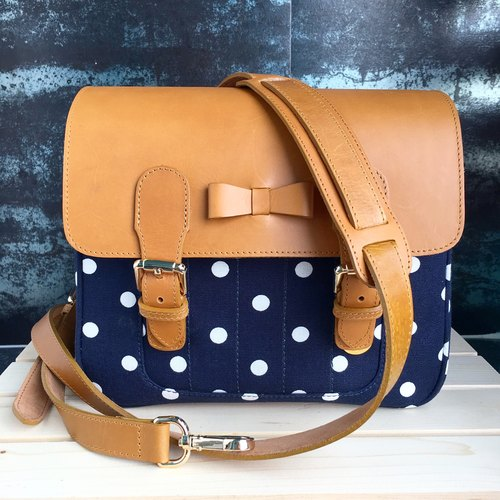 Blue Polkadot Mirrorless Camera bag + 1 Camera Strap (you can choose camera strap any style in our shop)