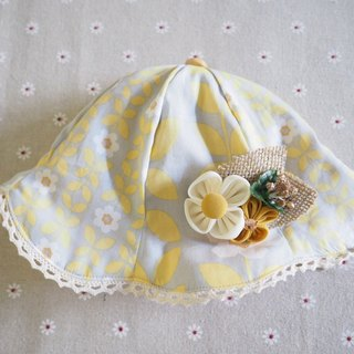 Handmade Yellow flower baby/ kid Hat and hair clip set