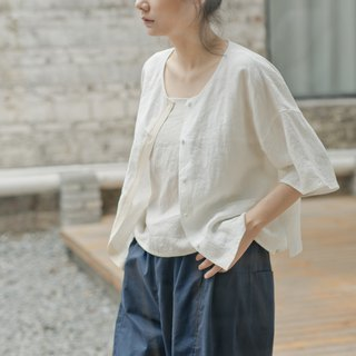 BUFU linen shirt in white SH180110