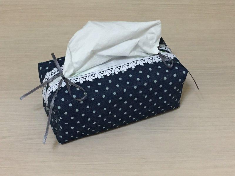 袋裝抽取式面紙套_牛仔丹寧水玉點點蕾絲緞帶