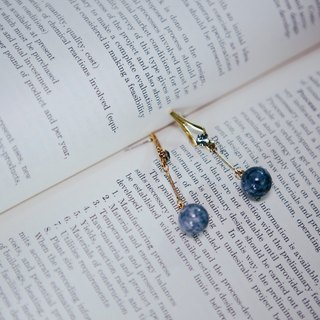 COR-DATE-blue marble lines swing earrings -580