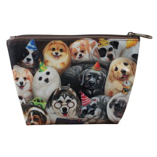 [Henry House Family] linoleum PVC cosmetic bag - happy hundred dogs (square)