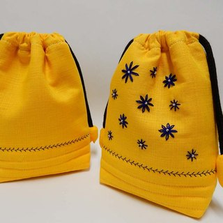 Yellow daisy lined with resin cotton beam bag