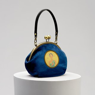 CoinQian Royal Garden Retro Blue Velvet Gold Handkerchief Shoulder Bag