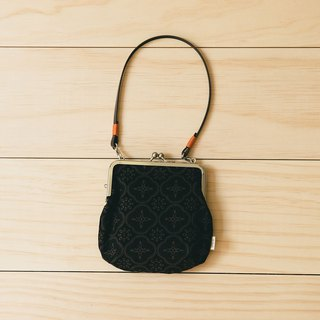 Gourd Shaped Clasp Frame Bag/Begonia Glass Pattern/Gentleman Black