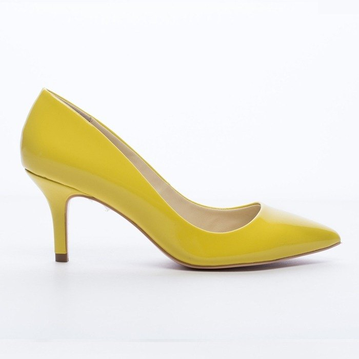 Saint Landry] [candy patent leather kitten heels - buttercup yellow flowers
