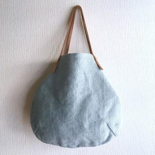 Jute (100% linen) and round tote bag of extremely thick oil nude [saxophone]