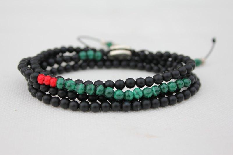 C.Chun Handmade Design Jewelry 4圈式磨砂黑瑪瑙手鏈/孔雀石