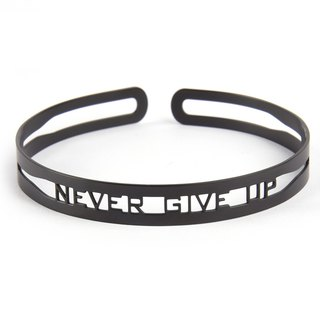 MOTTO BRACELET, NEVER GIVE UP,  SILVER GOLD, MATTE BLACK