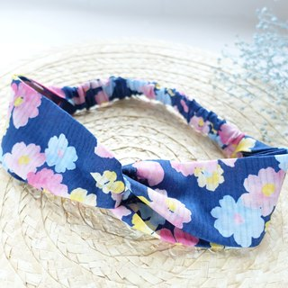 Hand made fresh flower pattern cloth made of friendship section hair band (blue)