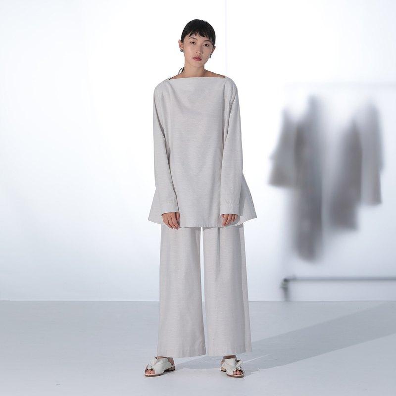 淺灰色點點織紋長版上衣
