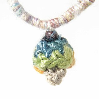 Birthday gift New Year gift gift Mother's Day gift Christmas Market Tanabata Valentine's Day gift limited edition of a leather + cotton knit mushroom necklace - Forest Department Gradient Rainbow Rainbow sari line Hand twisted yarn weaving mushroom