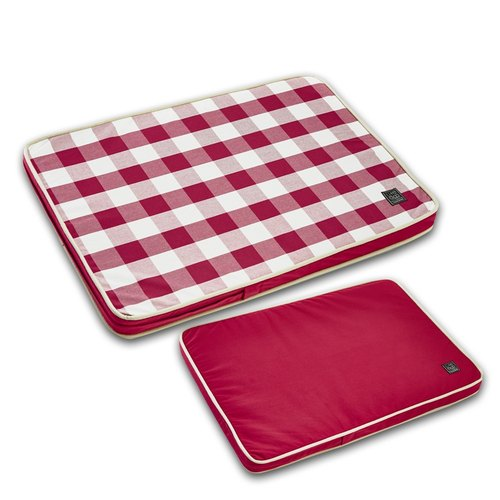 Lifeapp Pet Sleep Pillow Checker --- M (red and white) W80 x D55 x H5 cm