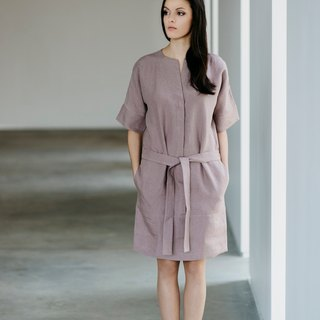 Linen Dress Motumo With Wide Sleeves 15S6