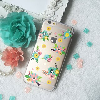 Flower Floral Set Clear TPU Silicone Phone Case iphone X 8 8+ 7 7+ 6 Samsung S8
