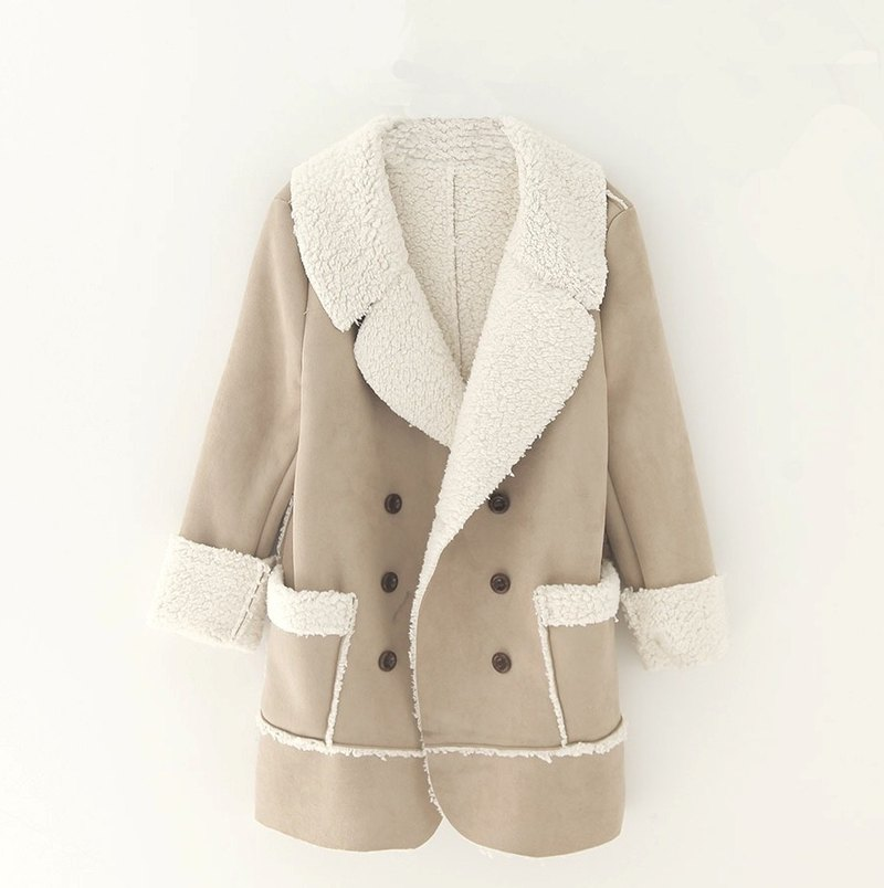 ~ Re: i fashion studio ~ lamb suede lapel wool double-breasted jacket with large pockets longboard