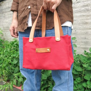 Leather sail lunch bag - jewel red large capacity lunch box office worker companion [change tide change bag]