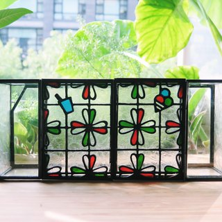 Taiwan Retro Window Curtains - Ice Cream & Hand Cups Handmade Glass Boxes/Retro Desk Lights