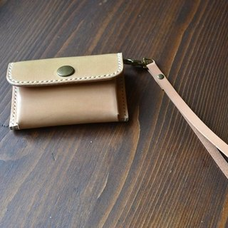 Leather leather hand made coin purse coin bag with the same color hand strap gift size color can be customized