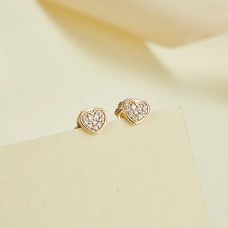【PurpleMay Jewellery】18k Yellow Gold Heart Diamond Stud Earring E018