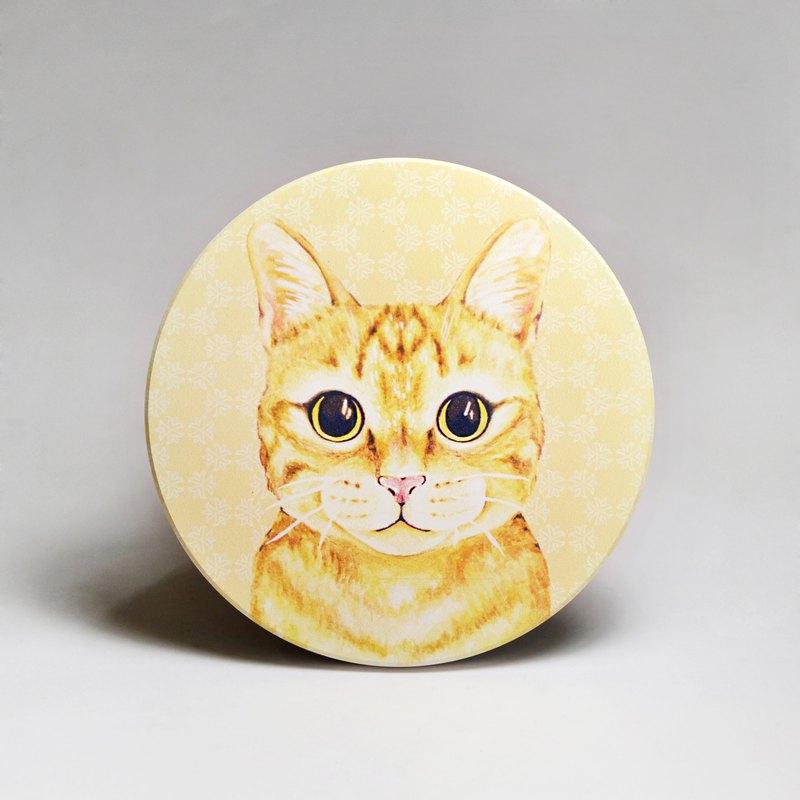 吸水陶瓷杯墊-橘貓 (送貼紙)(可加購客製文字)