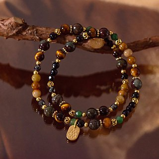 <Slow & Warm Natural Stone Series> C1180 Tiger Eye Green Ghost Double Circle Bracelet
