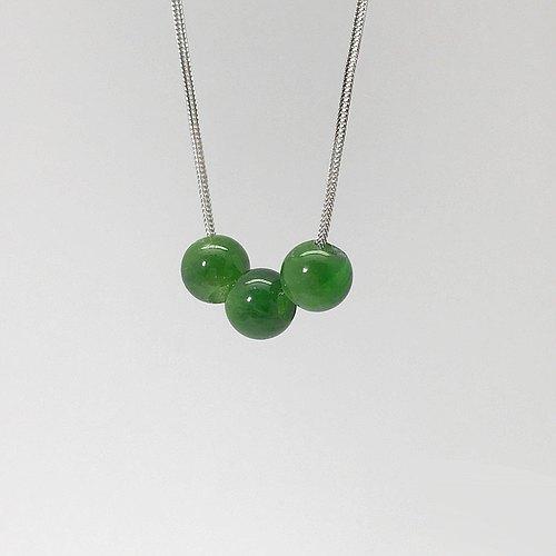 寶石項鍊 - 綠透輝石 9.8mm天然石圓珠 - 925純銀 禮盒包裝
