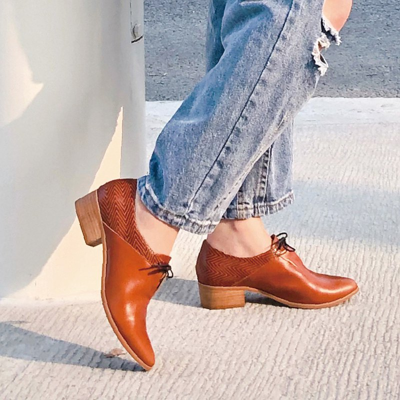 【手工訂製】拼接設計綁帶踝靴_駝