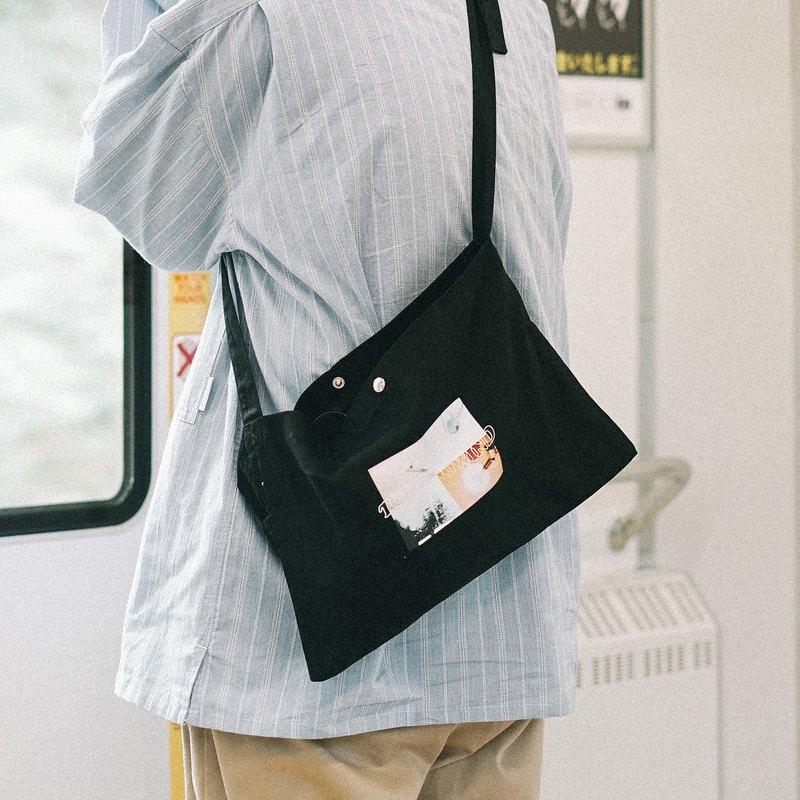 照片拼貼數碼印花原創設計斜挎小布包布袋 黑白
