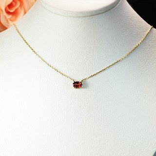 【Lalune】 intoxicating sweet red garnet 925 sterling silver yellow K color necklace