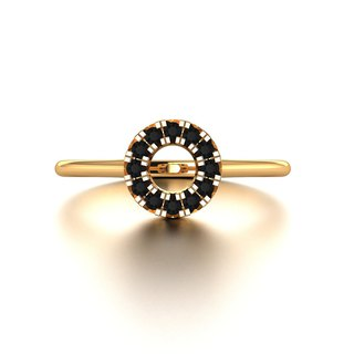 18k Gold Black Diamond Ring - Custom Jewellery - Antique Diamond Ring R054