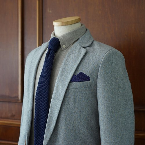 Blue Knitted Wool Tie with pocket square set (no Crafted box)