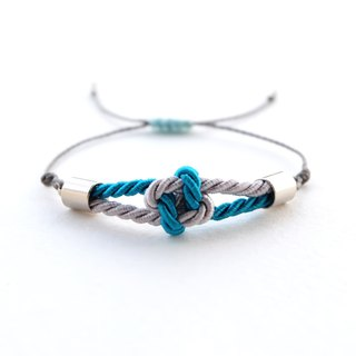 Tiny flower knot rope bracelet in Peacock blue / Light gray