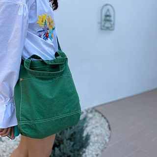 New Green Little Canvas Tote / Weekend bag / Shopping bag