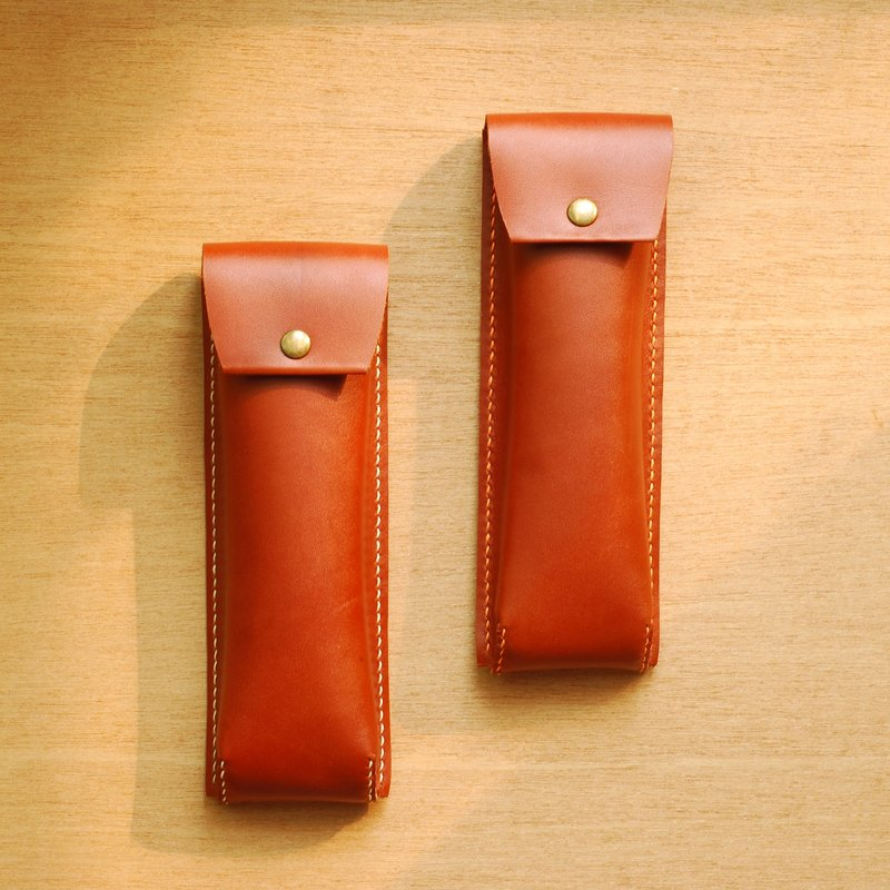 Personality pen bag leather hand sewing (brown)