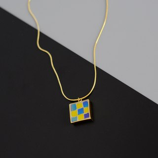 Rubik's Cube Handmade Mosaic Gold Plated Necklace 925 Silver Plated Gold Plated Long Chain Geometric Color
