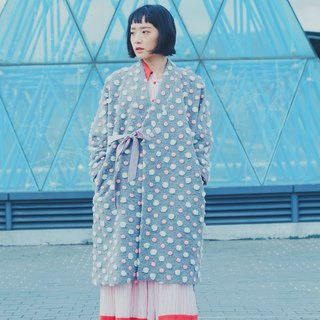 Bubblegum cotton smock coat wool side straps